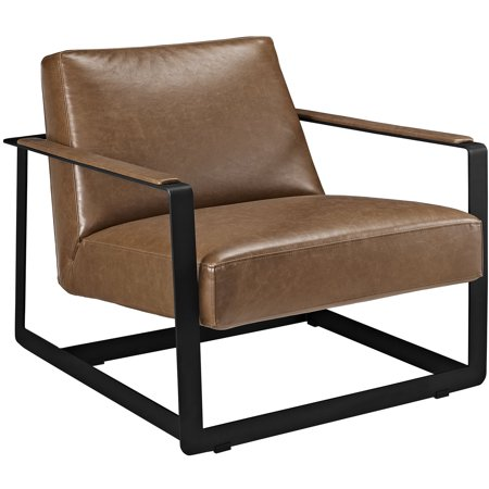 Modern Contemporary Urban Design Living Lounge Room Accent Chair, Brown, Faux Leather Metal
