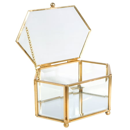 Home Details Vintage - Copper Hexagon Bevelled Glass & Mirrored Bottom W.Top Lid Jewelry Box - Glass Mirror Box