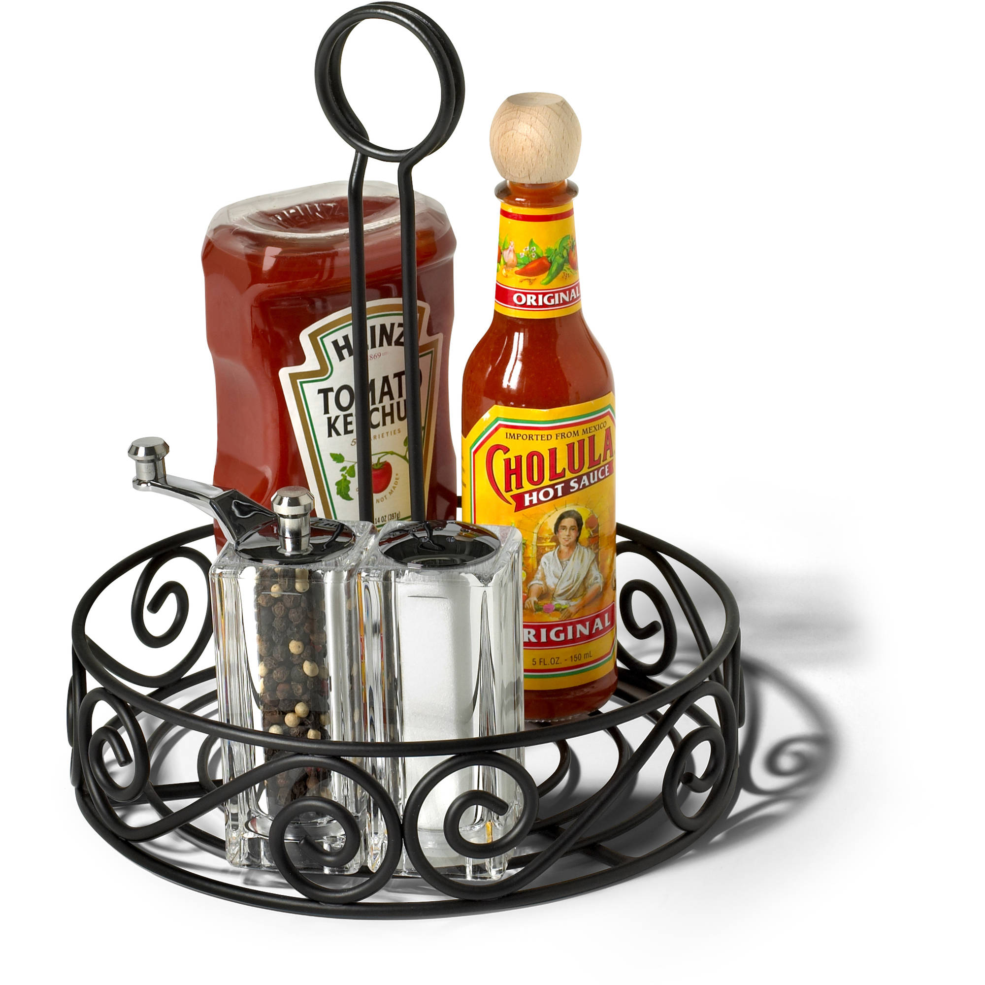 Spectrum Condiment Stand and Holder, Black Scroll