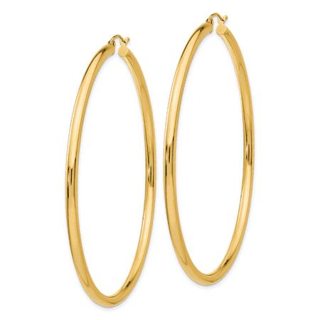 14K Yellow Gold Hoop Earrings - image 2 de 3