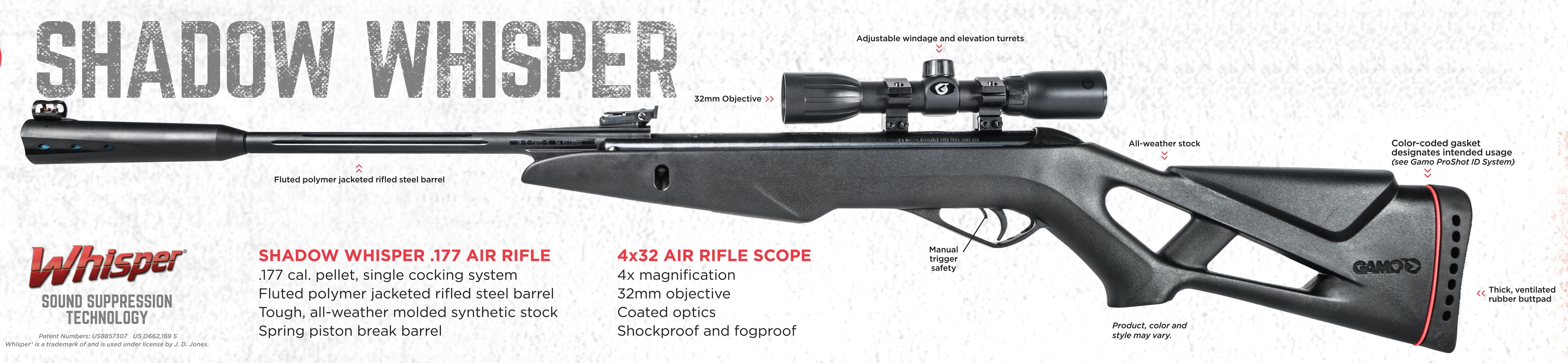 Gamo Shadow Whisper Pellet Rifle Break Barrel 177 Cal