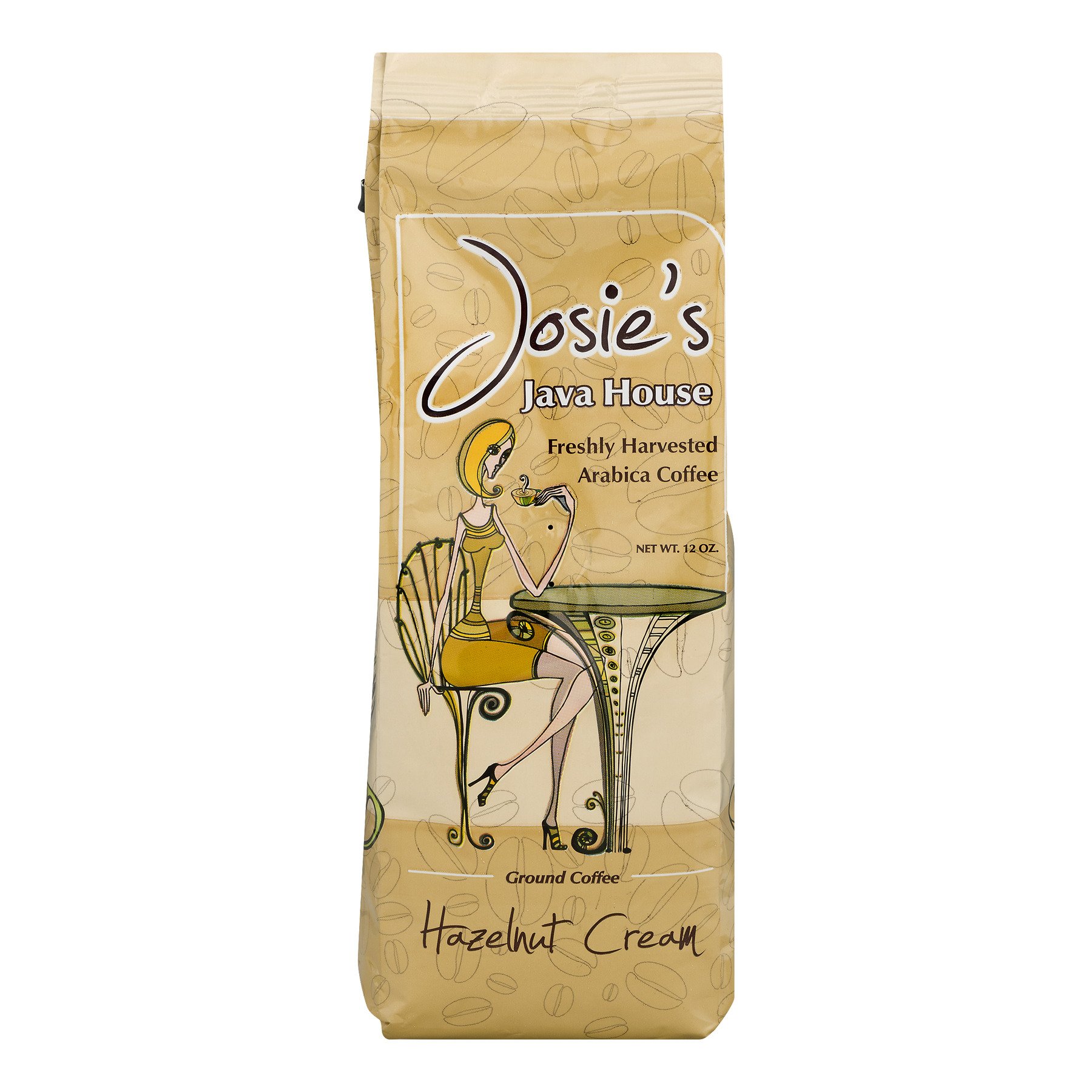 Josie's Java House Ground Arabica Coffee Hazelnut Cream, 12.0 OZ