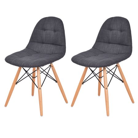 Costway Set of 2 Mid Century Style Upholstered DSW Dining Side Chair Wood