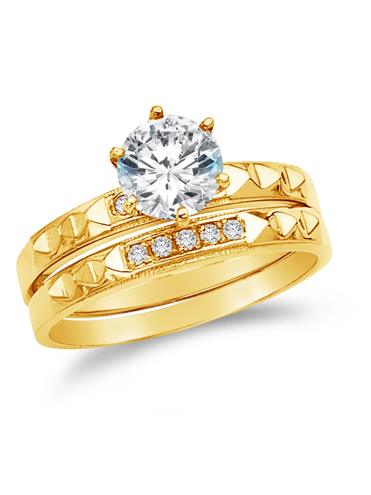 8.5 Size Jewel Tie Solid 14k Yellow Gold Cubic Zirconia CZ Round Mens Wedding Ring Band