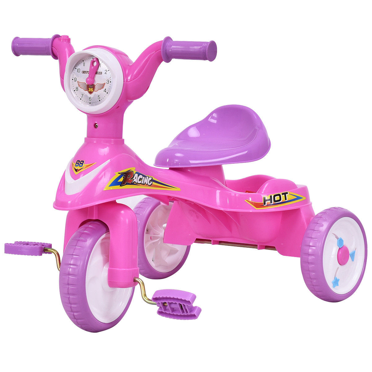 Goplus Toddlers Glide Tricycle Trike Bike Kids Ride On Toy w/ Music Pink Indoor/Outdoor
