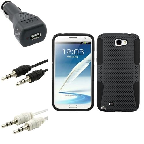 Insten Black/Grey Hybrid Case Charger 2x Audio Cable For Samsung Galaxy Note 2 II