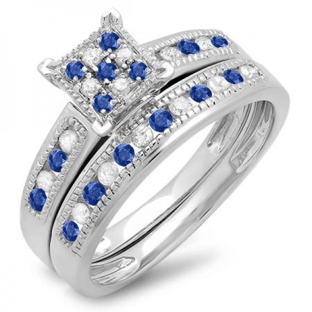Dazzlingrock Collection Sterling Silver Blue Sapphire & White Diamond Engagement Ring Set, Size