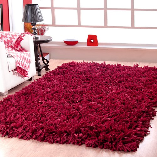Affinity Home Collection Handwoven Shag Red Area Rug