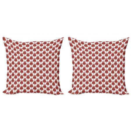 Geometric Throw Pillow Cushion Cover Pack of 2, Christmas Ornaments in Vibrant Color Scheme Cheery Chipper Celebrations X-mas, Zippered Double-Side Digital Print, 4 Sizes, Ruby White, by Ambesonne ()