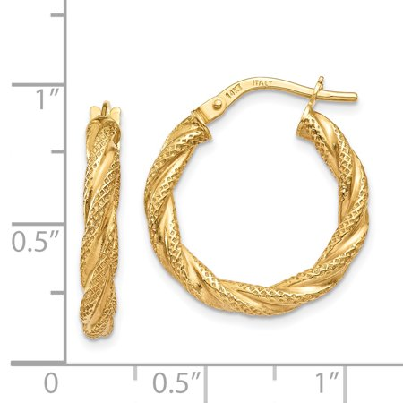 14K Yellow Gold Twisted Textured Hoop Earrings - image 2 of 3