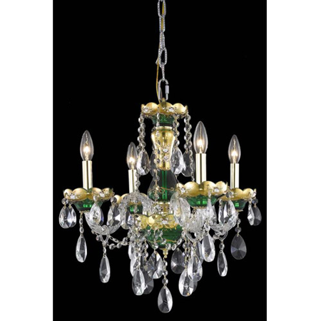 Green Crystal Chandelier - Chandeliers 4 Light With Clear Crystal Royal Cut Green size 19 in 240 Watts - World of Classic
