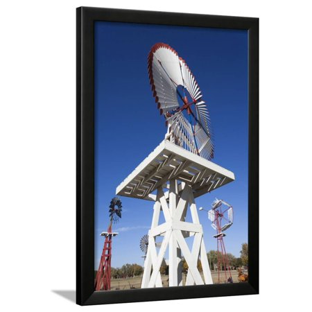 Vintage Farm Windmills, Elk City, Oklahoma, USA Framed Print Wall Art By Walter Bibikow (Usa Windy City)