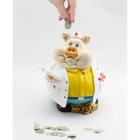 Novelty Pig Saving Box Coin Bank Money Saving Bank Toy Bank Piggy Bank for 2019 New Year, (White) - Pig Blank