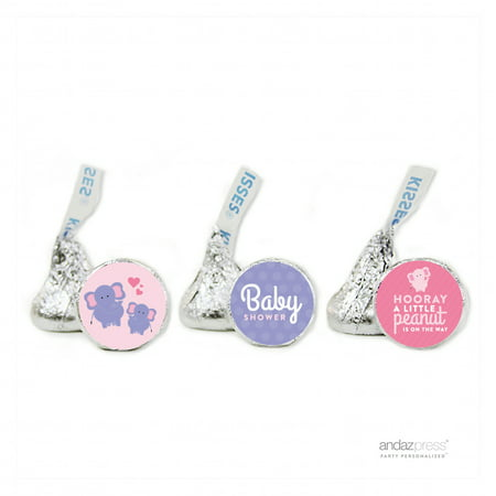 Party Bubblegum Pink Lil Peanut Elephant Girl Baby Shower Hershey´s Kisses Favor Labels, (Girl Baby Shower Themes Pink And Purple)