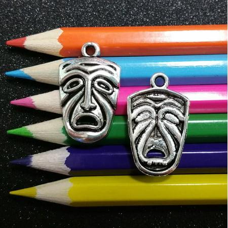 10 PCS - Mardi Gras Mask Theater Tragedy Louisiana Silver Charm Pendant (Tragedy Theater Masks)