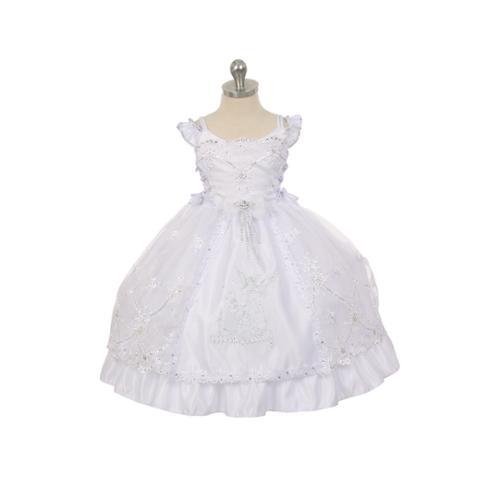 Rain Kids Little Girl White Organza Rhinestone Baptism Cape Dress 2T-6