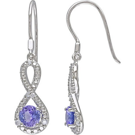 1-1/10 Carat T.G.W. Tanzanite and 1/10 Carat T.W. Diamond Sterling Silver Infinity Earrings ()