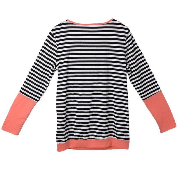 Womens Maternity Striped Nursing Breastfeeding Shirt Long Sleeves Top Clothes Orange M Walmart Com Walmart Com