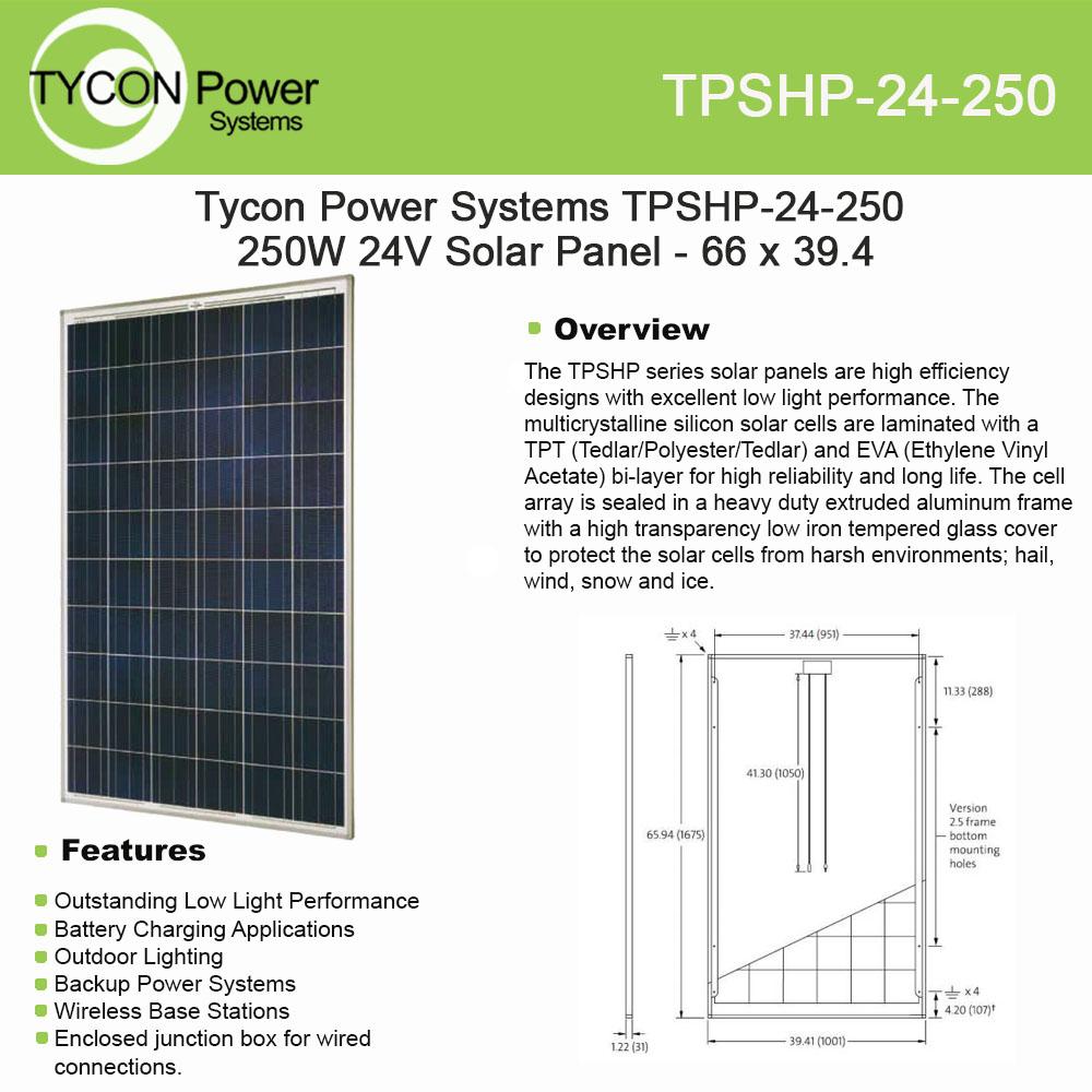 Tycon Power Systems TPSHP-24-250 250W 24V Solar Panel - 6...