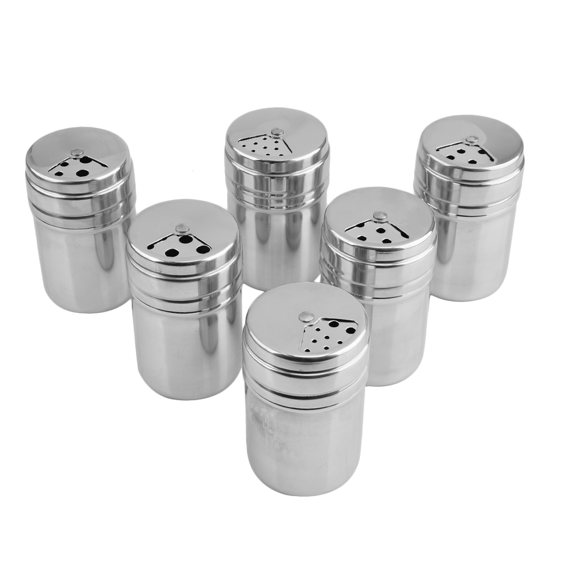 Click here to buy 6Pcs Salt Sugar Spice Pepper Shaker Seasoning Cans Stainless Steel Bottles Container with Rotating Cover for Kitchen Cooking and Outdoor....