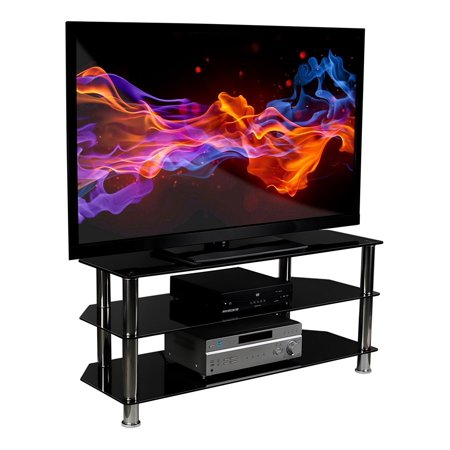 Mount-It! TV Stand For Flat Screen Televisions Fits 32 to 60 Inch LCD LED OLED 4K TVs, Three Tempered Glass Shelves