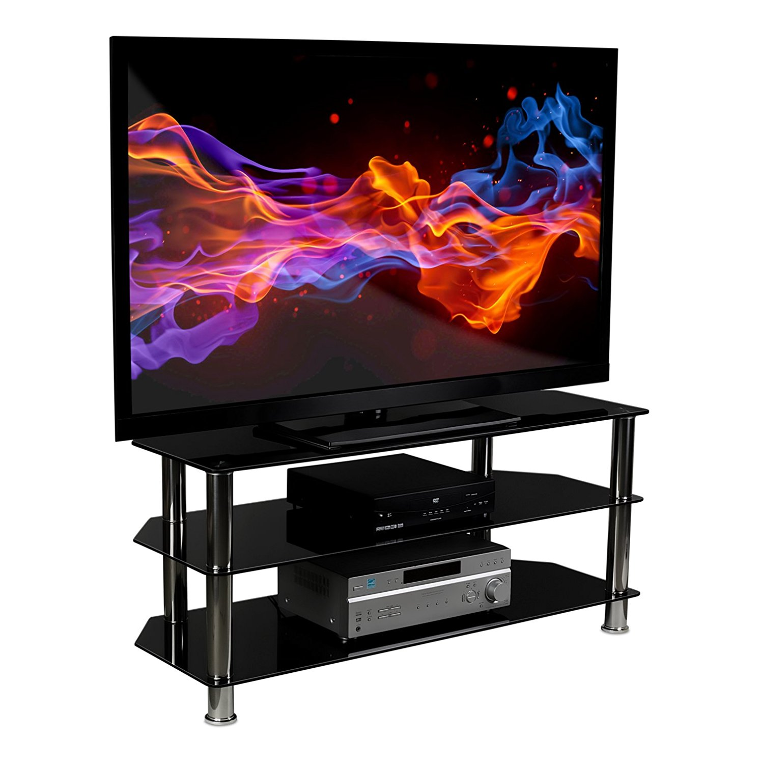 Mount-It! TV Stand For Flat Screen Televisions Fits 32 to 60 Inch LCD LED OLED 4K TVs, Three Tempered Glass Shelves (MI-880)