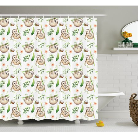 Sloth Shower Curtain, Baby Sloth and Mother Soft Colored Flowers Coconut Tree Leaves Happy Family, Fabric Bathroom Set with Hooks, 69W X 70L Inches, Light Brown Green, by Ambesonne - Mom Shower