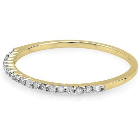 0.15 Carat (ctw) 14k Gold Round Diamond Ladies Anniversary Wedding Band Stackable Ring