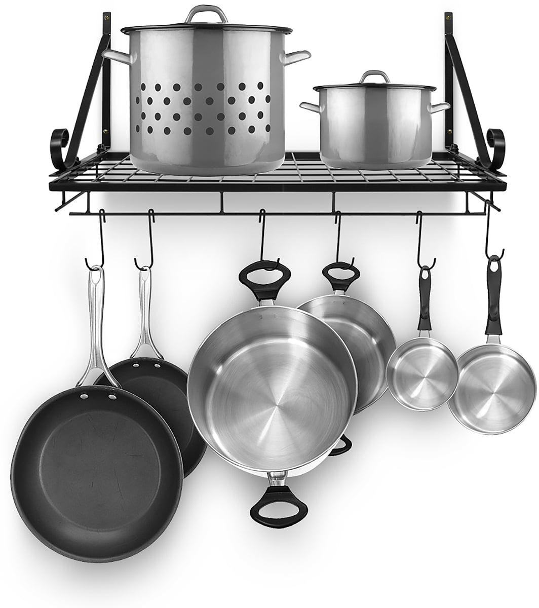 Sorbus Kitchen Wall Pot Pan Rack,With 10 Hooks,Black ...