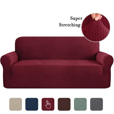 High Stretch Sofa Cover 1 Piece Machine Washable Spandex Jacquard Checked Pattern Fabric (Sofa,