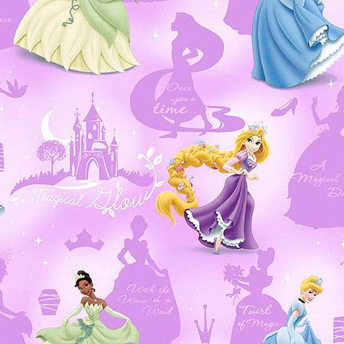 Creative Cuts Cotton Fabric, Disney Princesses Magical Glow Print, Purple