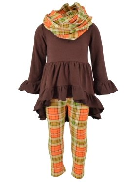 Girls 3 Piece Fall Colors Thanksgiving Legging Set (4t)