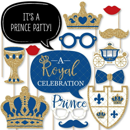 Royal Prince Charming - Baby Shower or Birthday Party Photo Booth Props Kit - 20 Count (Gold And Black Theme)