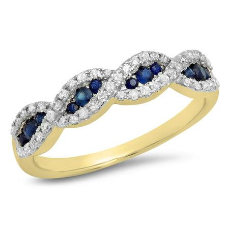 Dazzlingrock Collection 10K Blue Sapphire & White Diamond Bridal Swirl Anniversary Wedding Band, Yellow Gold, Size 5.5 10k Yellow Gold Rosary Ring