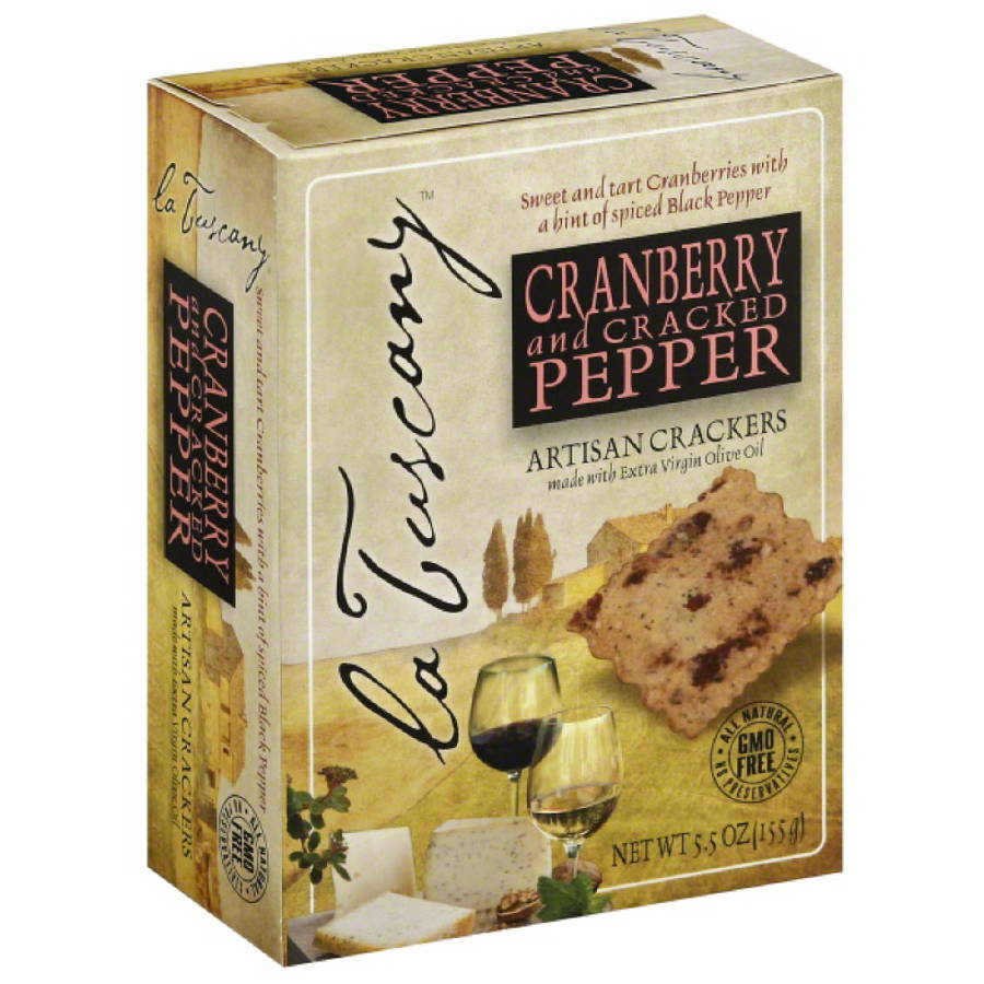 La Tuscany Cranberry and Cracked Pepper Artisan Crackers, 5.5 oz, (Pack of 6)