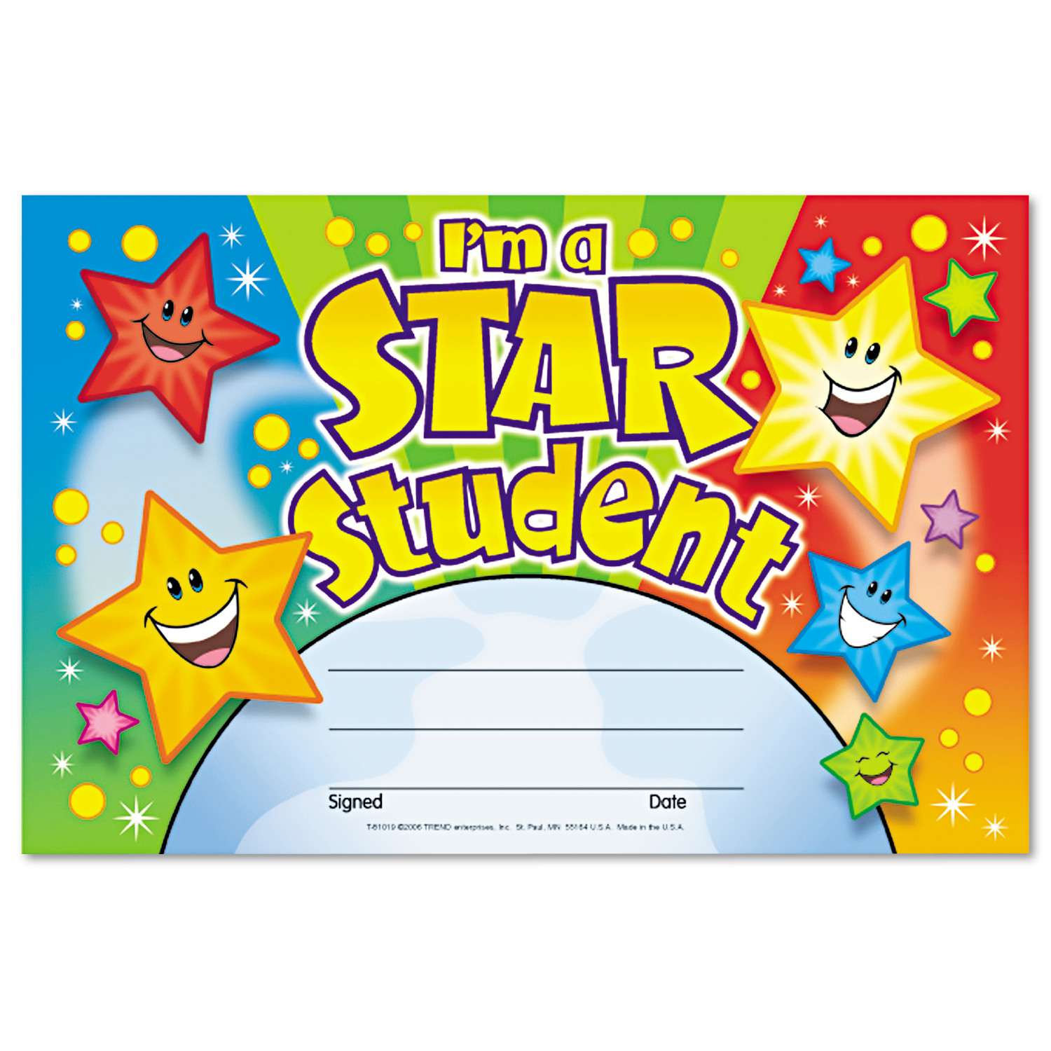TREND Recognition Awards, I'm a Star Student, 8 1/2w by 5 1/2h, 30/Pack
