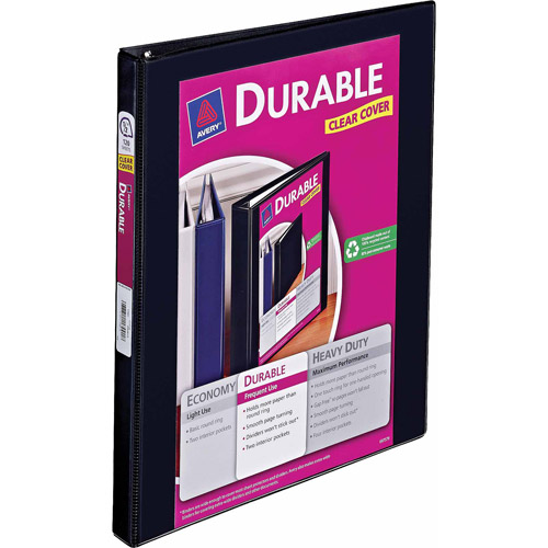 "Avery Durable View Binder with Slant Rings, 1/2"" Capacity, Black"