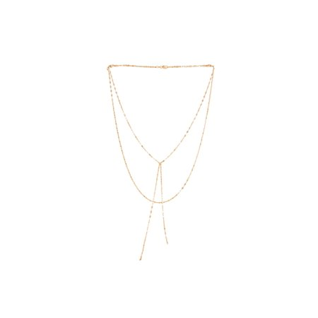 14k Yellow or Rose Gold Fancy Link Chain Double Layered Lariat Necklace, 17