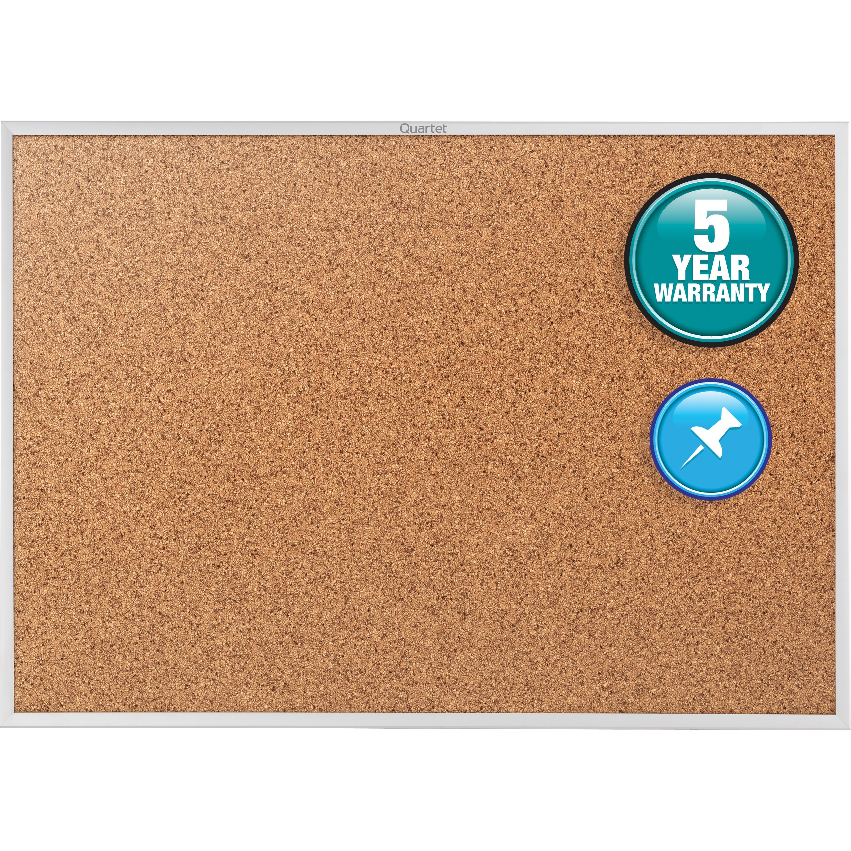 """Quartet Classic Series Cork Bulletin Board, 60"""" x 36"""", Silver Aluminum Frame"""