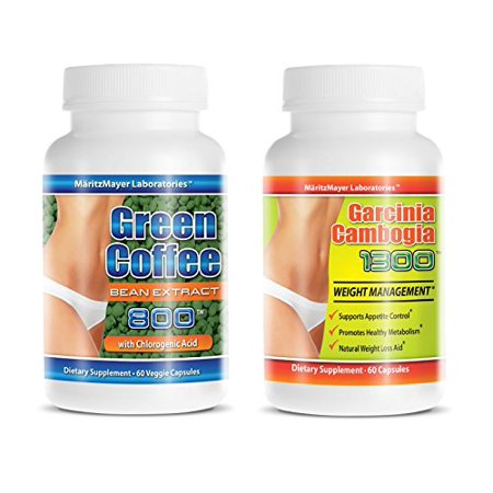 Garcinia Cambogia Extract with Hca 60% & Green Coffee Bean Extact 800 with 50% Chlorogenic Acid Weight Loss 60 Capsules Per