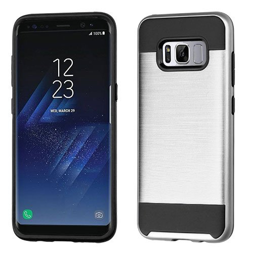 Samsung Galaxy S8 Case - Wydan Brushed Metal Texture Slim Hybrid Shockproof ProtectivePhone Cover Silver on Black