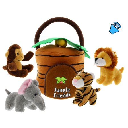 Plush Jungle Animals with Jungle House Carrier for Kids- 5pc- Talking Animal Interactive Toy Set- Stuffed Monkey, Lion, Tiger & - Cheeky Monkey African Elephant