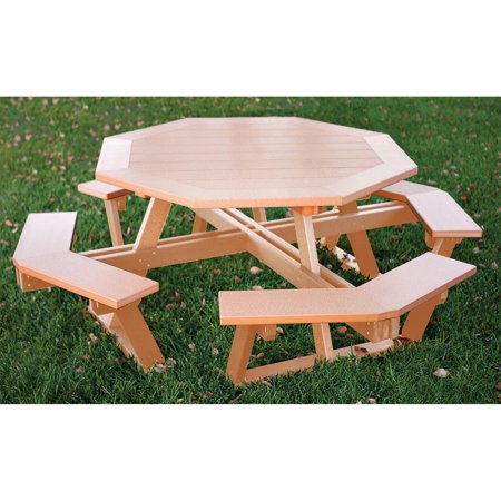Eagle One Octagon All Greenwood Recycled Plastic Picnic Table - Recycled plastic hexagonal picnic table
