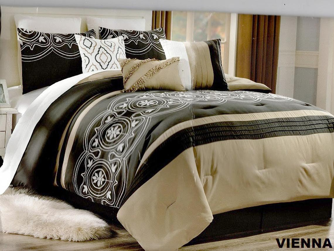 Unique Home Vienna Comforter 7 Piece Bed Set Ruffled Bed