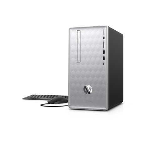 HP Pavilion 590-P0040 Natural Silver Desktop Tower, AMD Ryzen5-2400G Processor, 8GB Memory, 1TB Hard Drive, AMD UMA Graphics, Wireless Keyboard and Mouse, Windows 10,