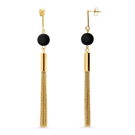 BERRICLE Gold Flashed Base Metal Tassel Ball Bead Fashion Statement Dangle Earrings (Gold Tassel Earrings)