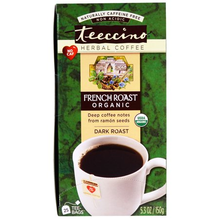 - Teeccino, Herbal Coffee, Dark Roast, Organic French Roast, Caffeine Free, 25 Tee-Bags, 5.3 oz (150 g)