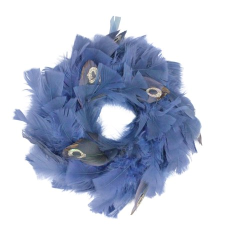 """10"""" Regal Peacock Embellished Blue Feather Artificial Christmas Wreath - Unlit - image 2 of 2"""