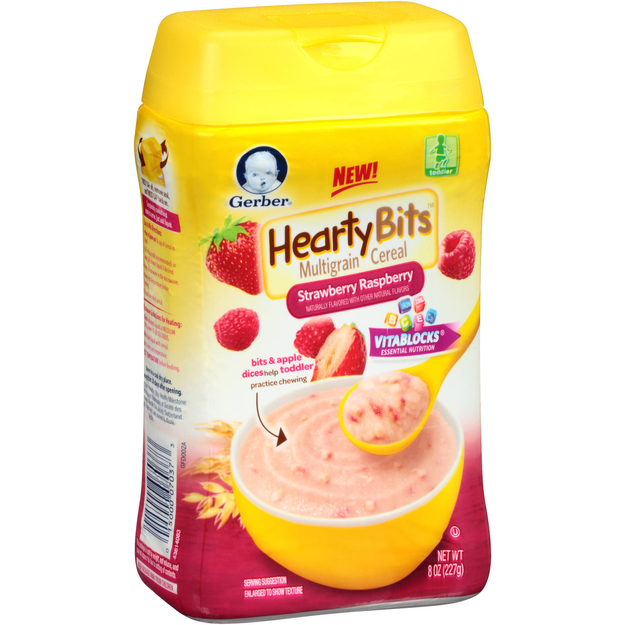 Gerber Hearty Bits Multigrain Strawberry Raspberry Cereal, 8 Ounce