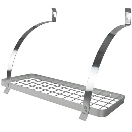 - Wall Mount Pot Rack with Hooks - Chrome